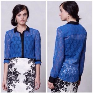 vanessa virginia gemma blue sheer lace button down